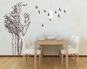 Tree Wall Decal Living room Decals Bedroom Wall Art Home Decor Birds Stickers Removable Vinyl StickerLarge Mural Kitchen Nature DIY