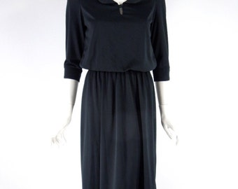 Vtg 70s Black Secretary Dress Blouson Bodice Easy Care - sm, med