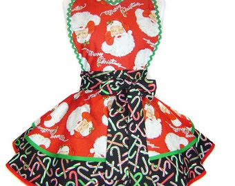 """Exclusive """"Santa Candy Cane Claus"""" Christmas Apron Pinup Diner-Only from Tie Me Up Aprons"""