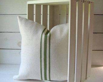 Burlap Grainsack Pillow / Burlap Pillow /Rustic Pillow /Cabin Pillow/Cottage Chic Pillow /Farmhouse Pillow / Choose Burlap and Stripe Color