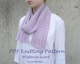 Easy Knit Scarf PDF Knitting Pattern, Cable Tutorial, Easy Beginning Knitter, Men Women Children, Worsted Weight Yarn