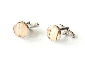 Real Birch Bark Cufflinks  - beige woodland Cuff links for men - for rustic wedding