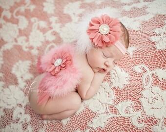 Newborn Angel Wings & Headband Set - Vintage Rose Feather Headband Wings Set - Newborn Photo Prop Wings
