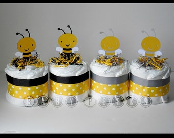 Set of 4 Mini Bee Diaper cakes ,Bumble Bee Diaper Cake , Mother to Bee Baby Shower, Baby Shower Decorations, Grey and Yellow
