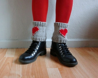 Heart Knit Boot Cuffs, Stone Beige Red Knit Boot Cuffs, Love Heart Short Leg Warmers, Boot Toppers, Valentines Day, Heart Knit Cuffs