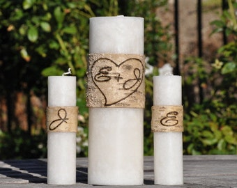 Personalized Birch Bark Unity Candle Set Rustic / Shabby Chic Wedding