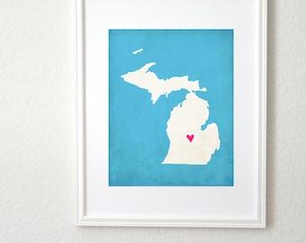 Michigan Silhouette State Map Customizable Art Print