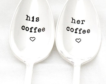 As Seen In PEOPLE Magazine, His and Her Coffee spoons, hand stamped vintage silverware. Made to Order