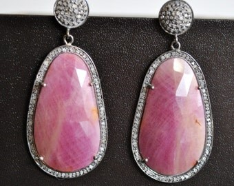 PAVE DIAMONDS pink SAPPHIRE earrings