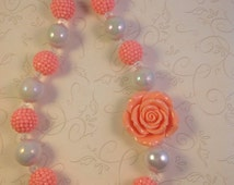 Peach Rose chunky bead necklace - Girls boutique style Peach Rose Chunky Bubblegum Bead Necklace kids flower girl wedding shabby chic rustic