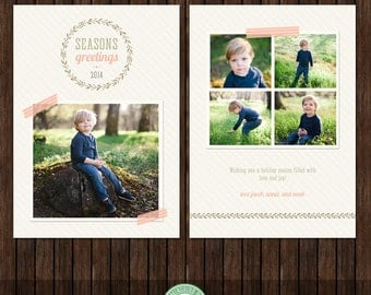 INSTANT Download 5x7 Christmas / Holiday Card Template - H46