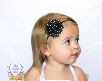 Black with White Polka Dots Headband -  Newborn Infant Baby Toddler Girls Adult Petite