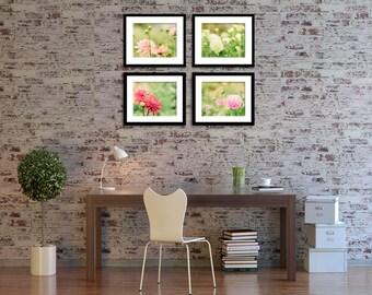 Flower Photography - Nature Photography - Dahlias - Set of Four (4) Flower Photos - Fine Art Photography Prints - Pink Orange Red Home Decor