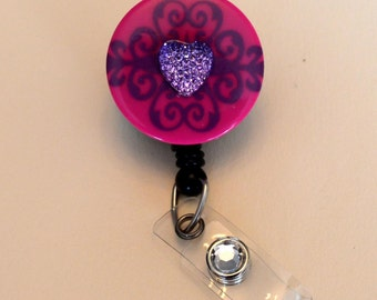 Pink with purple Heart Button Badge Reel