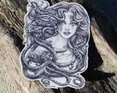 Mermaid Temporary Tattoo - Mermaid & Her Octopus - Octopus Temporary Tattoo - Mermaid Tattoo