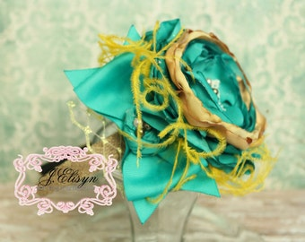 emerald green mustard brown couture headband- handmade vintage headband made to match Persnickety