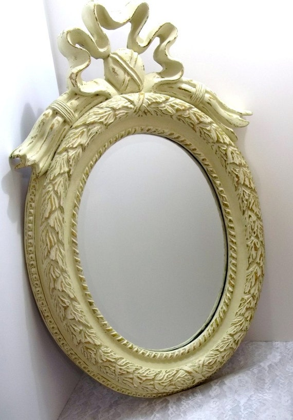 Ornate Vintage Oval Beveled Wall Mirror Antique By Dondilights
