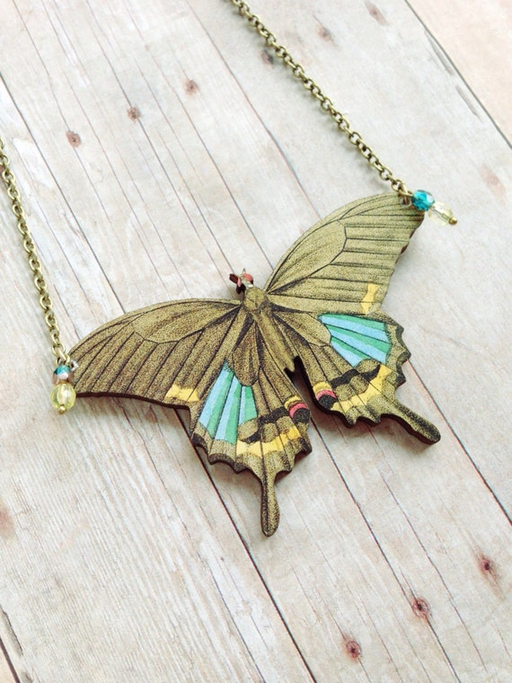 Brown Butterfly Necklace Insect Jewelry