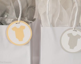 Baby Shower Decorations- OnePiece Tags - Yellow and Gray - Set of 12