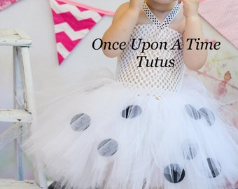 Ready To Ship Dalmatian Dog Tutu or Dress - Newborn 3 6 9 12 18 24 Months2T 3T 4 5 6 - Black & White Halloween Costume or Birthday Outfit