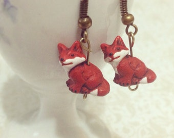 Teeny Red Fox Dangle Earrings. Vintage Style Brass Hooks. Woodland Critter. Unique Whimsical Animal Lover Earrings. Small Sly Fox. Under 15.