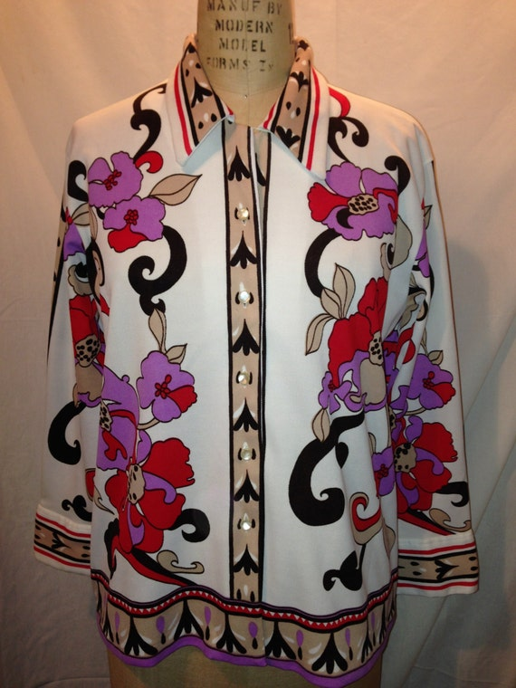 Vintage Button Down Floral Polyester Shirt 1970s Size 44 s30