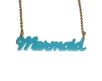 Turquoise Mermaid Necklace, Laser Cut Pendant Green Blue, Kawaii Perspex