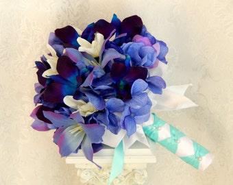Blue Orchid Wedding Bouquet-Purple Hydrangea Wedding Bouquet- Tiger Lily- Dendrobium Orchid Wedding Bouquet- Made to Order