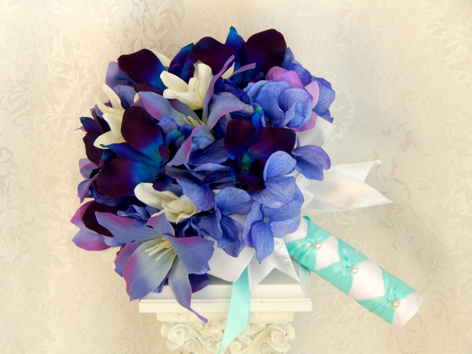 Blue Orchid Wedding Bouquet Purple Hydrangea Wedding by 3Mimis