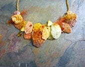 Shell Necklace, Orange, Yellow, Crystals, Fiber, Pearls