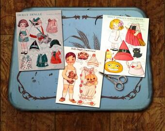 Dolly Dingle Vintage Halloween Paper Dolls Art Deco Kewpie & Cousin Grace Drayton Witch Cat Clown Costume 3 Printable Digital Collage Sheets