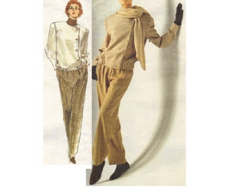 Vogue 2411 American Designer 80s Sewing Pattern Calvin Klein Off Center Button Front Jacket Tapered Leg Pants New Wave Style Bust 32