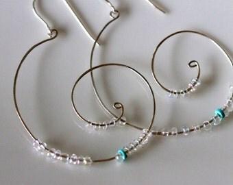 handcrafted large silver coil hoop earrings w / sleeping beauty turquoise beads, handmade designer beaded jumbo hoop earrings by girlthree