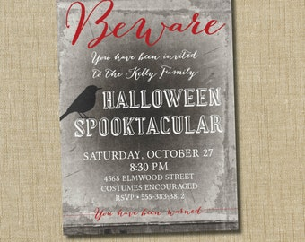 Spooky Halloween Party Invitation. Spooky Halloween Invitation. Beware
