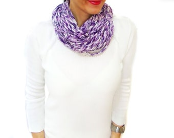 Chunky Scarf, Purple, Infinity Eternity Scarf, Colored, Chunky Cowl,  Noodle Scarves, Slouchy Cowl, Circle Necklace
