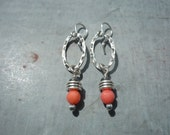 Artisan, Handcrafted, Western, Rustic, Sterling Silver and Coral Earrings