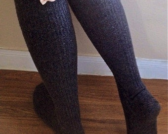 Boot Socks : Grey Wool Knee High Socks with Center Back Bows