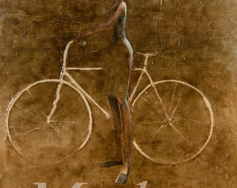 White Bike. 2013 Original Oil Painting print on rolled canvas,Fine art print, Girl and bike
