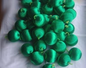 35 green silk balls - unbreakable vintage satin Christmas tree ornaments for beading and crafting