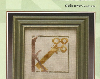 "Clearance - Alphabet Mania ""K"" Counted Cross Stitch Chart by Heart in Hand"