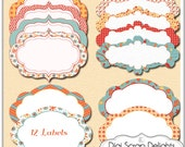 50% Off Autumn Labels, Orange, Red, Blue, Chevron, Floral Card Making, Crafts, Teachers, Instan Download