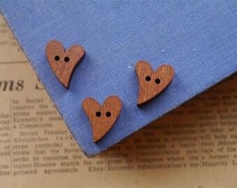 20 pcs Dark Wood Heart  Buttons 19mm (WB2124)