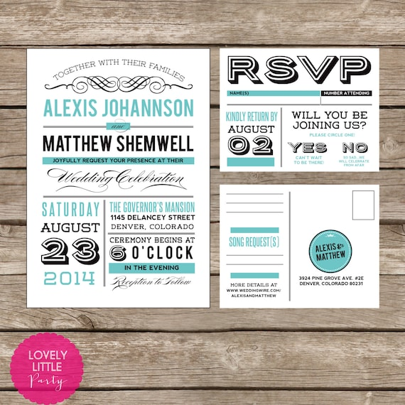 Alexis Collection Vintage Invitation and RSVP design - DIY Printable - Lovely Little Party - You Choose Color
