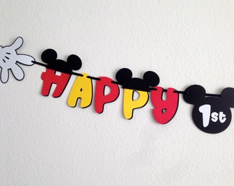 Mickey Mouse Birthday Banner with Mickey's Hands