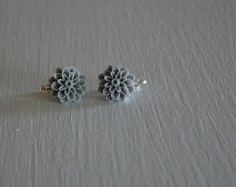 Gray Dahlia Flower Clip on Earrings ~regular stud option available