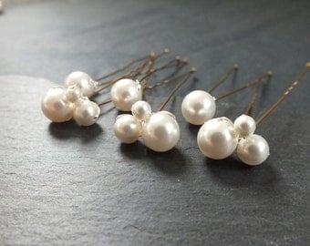 Set of 6 swarovski pearl hair pin, 3 pearl clusters and 3 single pearls,hair pin,wedding hair, bridal hair accessory, brides bridesmaid prom