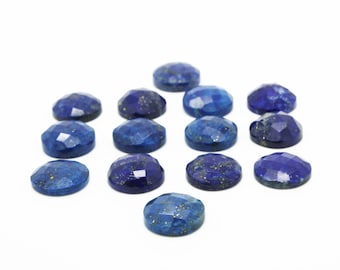 GCF-1073 - Lapis Lazuli Faceted Cabochon - 16mm Round - Gemstone Cabochon - AA Quality - 1 Pc