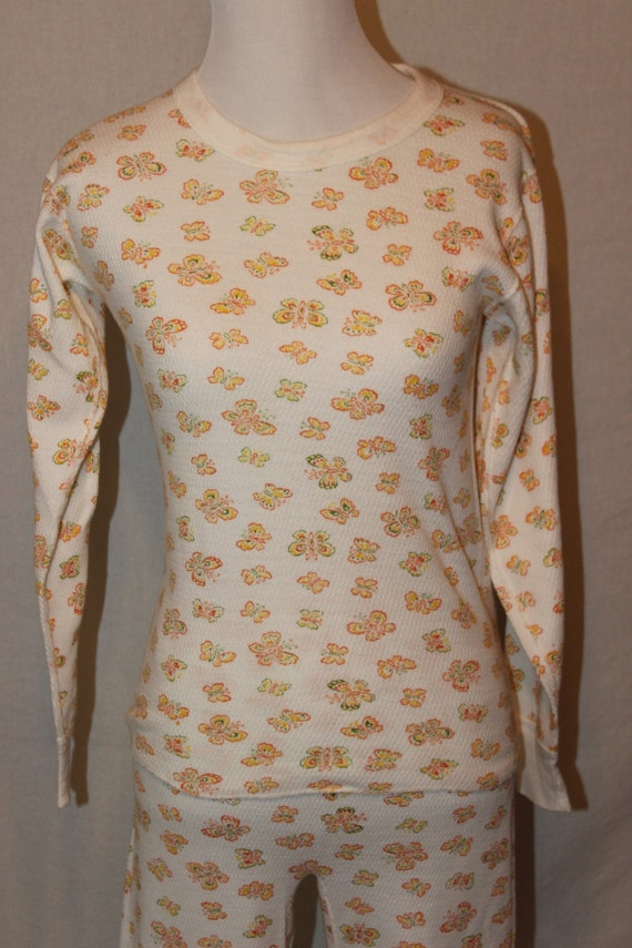 Vintage 70s Thermal Pajamas - Sweet Butterfly Print - KMart size Large