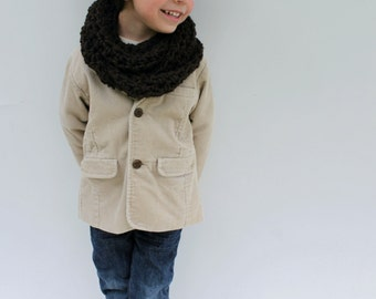 Children's Scarf, Brown Crochet Infinity Scarf, Made to Order