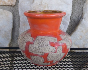 Vintage Mid Century Modern Orange Art Pottery Vase 1960's